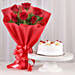 Delightful Divine - Bunch of 6 Red Roses with Pineapple Cake 500gms.
