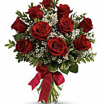 10 Red Roses Fresh Bouquet: Send Anniversary Roses to Australia
