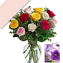 12 Mixed Roses With Card: Anniversary Roses in Australia