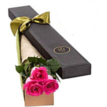3 Pink Roses in Gift Box: Send Anniversary Flowers to Australia