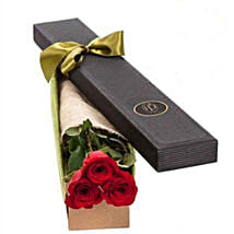 3 Red Roses in Gift Box: Send Anniversary Flowers to Australia