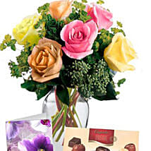 6 Mixed Roses Combo: Flowers N Chocolates in Australia