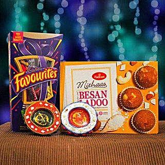 Besan Ladoo Cadbury Favourites and 2 Diya Set: Diwali Gifting in Australia