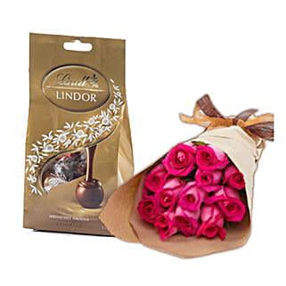 Dark Pink Roses N Chocolates: Anniversary Flowers to Australia