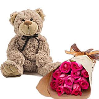 Dark Pink Roses N Teddy: Send Anniversary Flowers to Australia