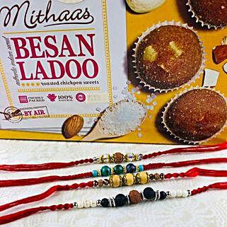 Four Lovely Rakhi Set With Besan Laddu: Send Rakhi to Adelaide