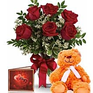 Half Dozen Roses With Teddy: Anniversary Flowers to Australia