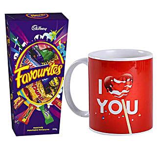 I Love You Mug And Cadbury Favorites Combo: Send Personalised Gifts to Australia