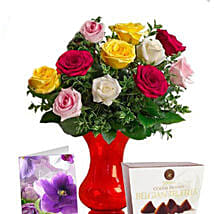 Long Stemmed Mixed Roses Combo: Send Anniversary Flowers to Australia