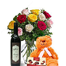 Mixed Roses Combo With Wine: Flowers N Chocolates in Australia