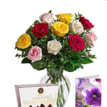 Mixed Roses N Chocolate Combo: Send Anniversary Roses to Australia