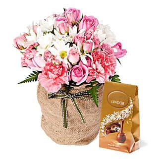 Pink Flowers With Chocolate Box: Send Anniversary Flowers to Australia