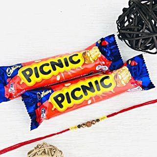Rakhi With Two Picnic Chocolates: Rakhi and Chocolates to Australia