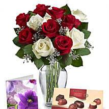 Red N White Roses With Chocolates: Rose Day Gifts to Australia