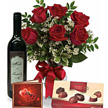 Roses Wine N Chocolate Combo: Valentine's Day Chocolate Delivery Australia