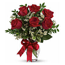 Six Long Stemmed Red Roses Bouquet: Send Anniversary Roses to Australia