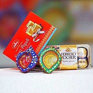 Soan Papdi Ferrero Rocher With Traditional Diyas: Diwali Gifting in Australia