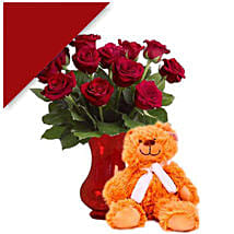 Teddy With Red Roses: Send Anniversary Flowers to Australia