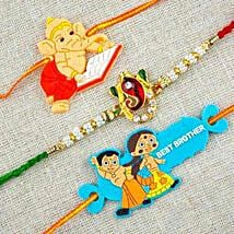 Three Colorful Rakhi Set: Send Rakhi to Melbourne