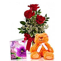 Three Red Roses With Teddy: Send Anniversary Flowers to Australia