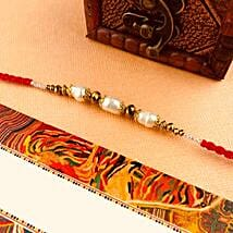 White Beads Rakhi: Rakhi to Perth