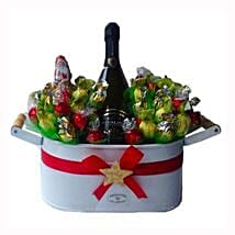 Christmas Sweet Flowerbed with Sparkling Wine: Send Gifts to Belgium