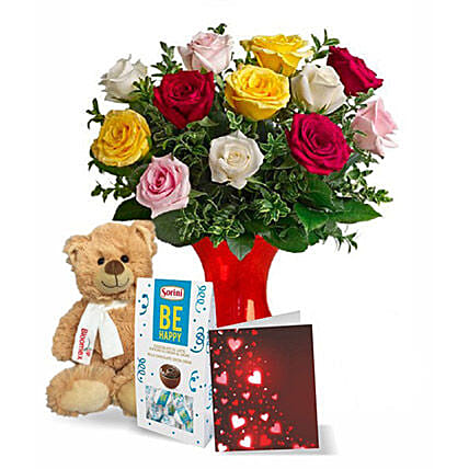 12 Mixed Roses N Teddy Combo