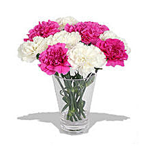10 Pink n White Carnations in Vase: Send Gifts to Vancouver