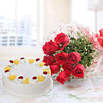 10 Red Roses And Pineapple Cake Combo: Flowers with Cakes to Canada