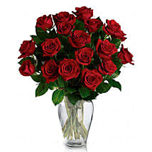 24 Red Roses in Vase: Gifts to Canada for Boyfriend