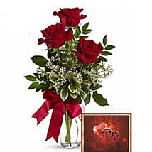 3 Red Roses With Greeting Card: Anniversary Flower Delivery in Canada