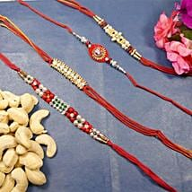 Beautiful Rakhi set of Four With Cashew: Send Rakhi to Calgary