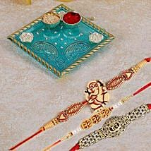 Blue Pooja Thali With Set Of 3 Rakhi: Rakhi to Mississauga