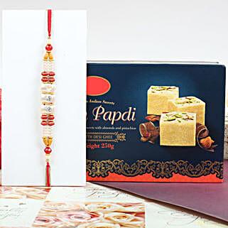 Colorful Rakhi With Soan Papdi: Rakhi to Canada