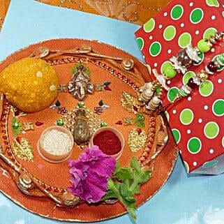 Creative Bhaiya Bhabhi Rakhi Thali With Boondi Laddu: Rakhi to Brampton