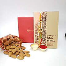 Crunchy Almonds 100gms And 2 Rakhis Combo: Rakhi with Dryfruits to Canada