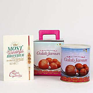Decorated Rakhi With Gulab Jamun: Rakhi and Sweets to Canada