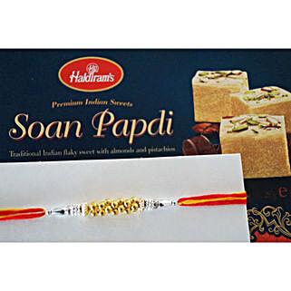 Designer beads Rakhi N Soan Papdi: Canada Rakhi Delivery