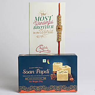 Designer Rakhi With Soan Papdi: Rakhi and Sweets to Canada