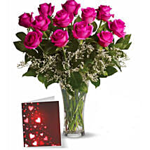 Dozen Pink Roses With Card: Flower Arrangements to Canada