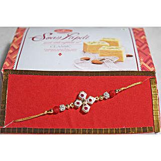 Floral Beads Rakhi N Soan Papdi: Rakhi to Brampton