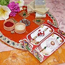 Flower Rakhi Set of Two Thali with Kaju Katli: Send Rakhi to Calgary