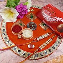 Golden Rakhi Set Of Two Thali With Lindt lindor: Rakhi to Calgary