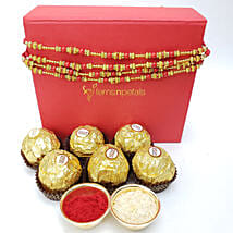 Gorgeous Rakhi And Rocher 6 Pieces Combo: Set of 4 Rakhis in Canada