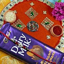 Impressive Rakhi Thali With Dairy Milk: Send Rakhi to Calgary