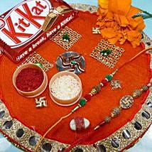 Rudrakha Rakhi Seet of two Thali with Kit Kat: Send Rakhi to Calgary