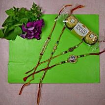 Traditional Rakhi Set Of Four With Rocher Ferrore: Canada Rakhi Delivery