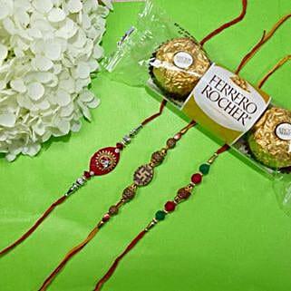 Traditional Rakhi Set Of Three With Rocher Ferrore: Rakhi to Canada