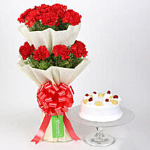 Two Layer Carnations Bouquet With Pineapple Cake: Valentines Day Flowers Canada