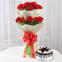 Two Layer Red Carnations With Black Forest Cake: Valentines Day Flowers Canada